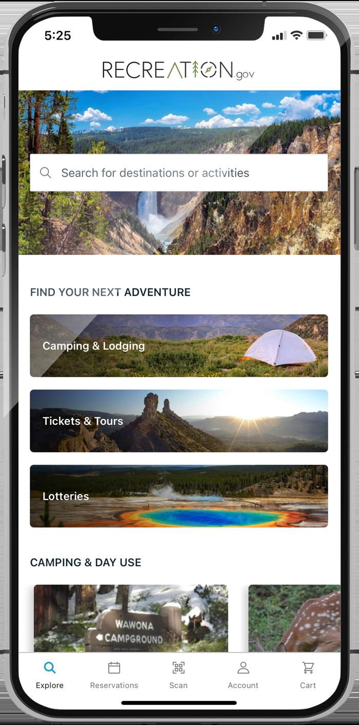 recreation.gov mobile app screenshot